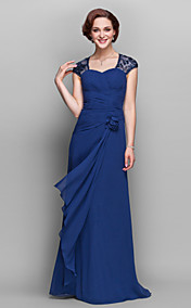 A-line V-neck Floor-length Chiffon Mother of the Bride Dress (722137)