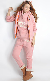 Womens Sport Suit Set Hoodies Vest Pants 3 In 1
