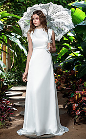 Sheath/Column Bateau Sweep/Brush Train Chiffon Wedding Dress (710747)