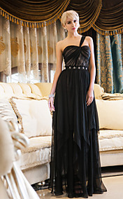 Sheath/Column One Shoulder Floor-length Chiffon And Stretch Satin Evening Dress (699429)