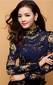 Women'S Lace Bodycon Long Sleeve T-Shirt