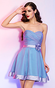 A-line Princess Sweetheart Short/Mini Stretch Satin And Chiffon Cocktail Dress (759818)