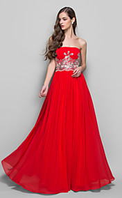 A-line/Princess Strapless Floor-length Chiffon Evening Dress