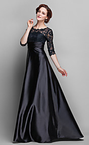 Sheath/Column Jewel Floor-length Stretch Satin And Lace Mother of Bride Dress (682760)