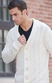 Men's V Neck White Buckle Sweaters Coat