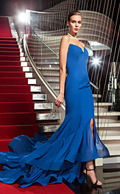 Trumpet/Mermaid Strapless Sweep/Brush Train Chiffon Evening Dress inspired by Rosci Diaz at the Emmys