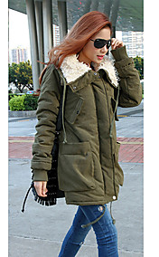 Women's Winter Lady Fleece Parka Coat Zip Overcoat Long Jacket