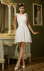 Sheath/Column Scoop Short/Mini Taffeta Wedding Dress With Ruffles