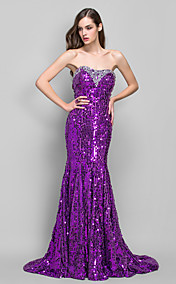 Trumpet/Mermaid Sweetheart Sweep/Brush Train Sequined Evening Dress