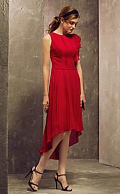Sheath/Column Scoop Asymmetrical Chiffon Bridesmaid Dress (710819)