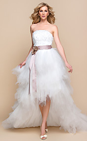 LTBridal A-line Princess Strapless Asymmetrical Tulle And Lace Wedding Dress