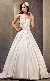 A-line Princess V-neck Sweep/Brush Train Taffeta And Lace Wedding Dress With Lace (551583)