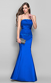 Trumpet/Mermaid Strapless Floor-length Stretch Satin And Lace Evening Dress (682744)