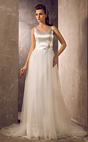 A-line Princess Scoop Floor-length Tulle And Stretch Satin Wedding Dress (783891)