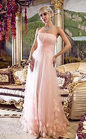 Sheath/Column Strapless Floor-length Tulle Evening/Prom Dress (466570)