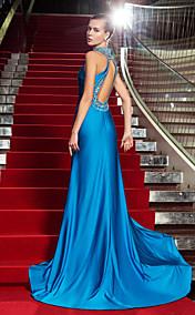 Sheath/Column High Neck Floor-length Jersey Evening Dress