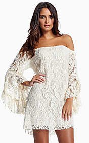 Women's Flat Shoulders Lace Long Sleeve Dress