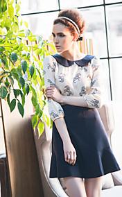 TS Contrast Collar Long Sleeve Dress
