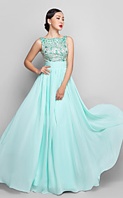 A-line Scoop Floor-length Chiffon Evening/Prom Dress (944183)