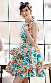TS Flora Print Sleeveless Swing Pleats Dress