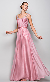A-line/Princess Straps Floor-length Chiffon Evening/Prom Dress