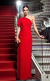 Sheath/Column One Shoulder Floor-length Jersey Evening Dress