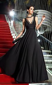 A-line V-neck Floor-length Jersey Evening Dress