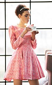 TS Puff Sleeve Jacquard Swing Dress