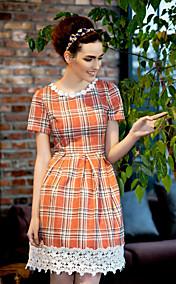 TS Vintage Grid Lace Hem Dress