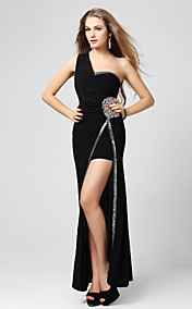 Sheath/Column One Shoulder Floor-length Jersey Evening Dress