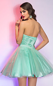 A-line/Princes Strapless Short/Mini Taffeta And Tulle Cocktail/Prom Dress