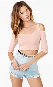 Women's Sexy One Shoulder Half Sleeve Stretch Crop Top
