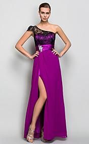 A-line One Shoulder Floor-length Georgette Evening Dress (759791)