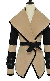 Women's Fashion Cozy Turn-down Collar Big Lapel Belted Trench Coat