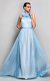 Sheath/Column High Neck Sweep/Brush Train Chiffon Evening/Prom Dress (742568)
