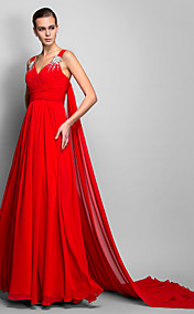 A-line/Princess Straps Floor-length Chiffon Evening Dress