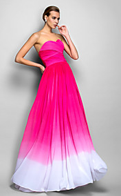 A-line Sweetheart Natural Sweep/Brush Train Chiffon Evening/Prom Dress