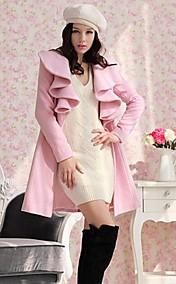 Women's Ruffles Collar Solid Color Long Style Slim Woollen Coat