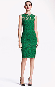 Women's Lace O-Neck Embroidery Sleeveless Dress