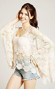 Women's Lace Cut Out Cape Sleeve Blouse