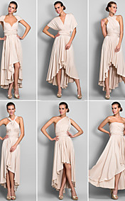 Sheath/Column Asymmetrical Jersey Convertible Dress (633752)