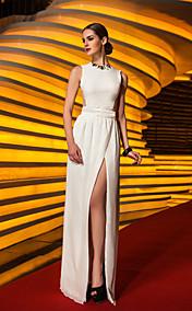 Sheath/Column Jewel Floor-length Jersey And Chiffon Evening Dress