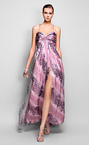 A-line/Princess Spaghetti Straps Floor-length Print Chiffon Evening Dress