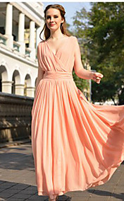 TS Colorful V-Neck Slim Cut Maxi Dress