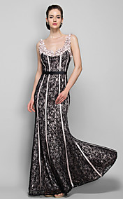 Sheath/Column Straps Floor-length Stretch Satin And Lace Evening Dress