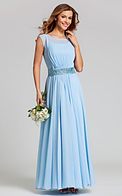 A-line Scoop Natural Ankle-length Chiffon Bridesmaid Dress(710820)