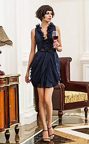 Sheath/Column V-neck Short/Mini Chiffon And Satin Bridesmaid Dress (722121)