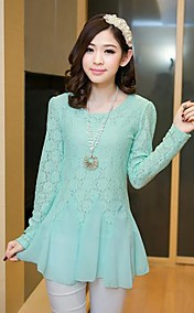 Women's  Round Collar Lace Long Sleeve Blouse