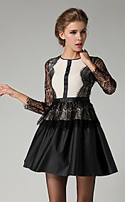 Women's Elegant Lace Splicing With PU Dress