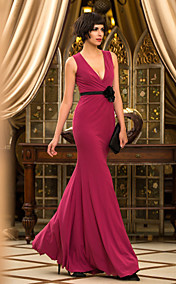 Trumpet/Mermaid V-neck Floor-length Velvet Evening Dress (759998)